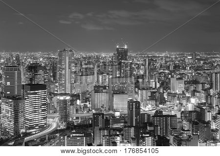 Black and White City central business downtown night view Osaka Japan