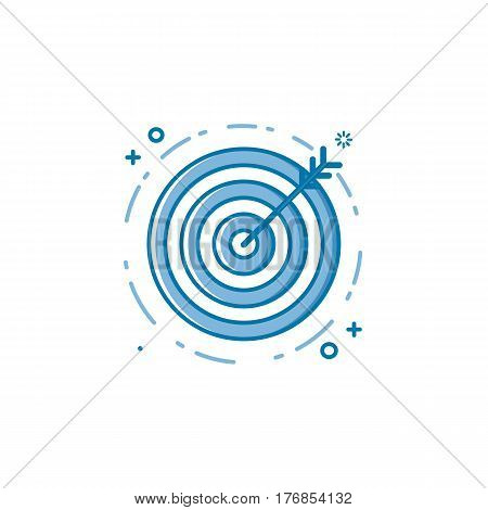 Vector illustration of flat bold line target goal or aim icon. Graphic design concept of successful shoot. Use in Web Project and Applications. Blue outline isolated object.