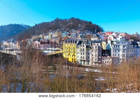 Karlovy Vary, Czech Republic - February 15, 2017: Karlovy Vary aerial panoramic famous spa town view, Czech Republic