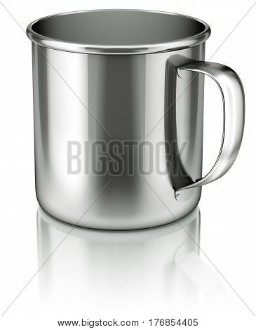 Stainless steel cup on white reflective background - 3D illustration