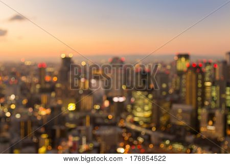 Blurred bokeh light Osaka business downtown abstract background