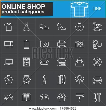 Online shopping product categories line icons set outline vector symbol collection linear white pictogram pack. Signs logo illustration. Set includes icons as clothes shoes computer electronics