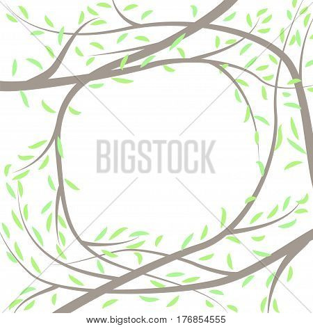 Spring frame formed by brunches with first green leaves. Stock vector illustration of foliage for season greeting card template ad banner.
