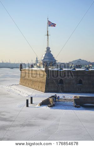 Naryshkin Bastion and tower Flagstone, winter morning. Peter and Paul fortress. Saint-Petersburg