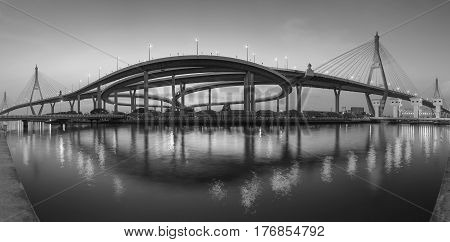 Black and White Panorama double suspension bridge connect to highway intechanged river fornt Bangkok Thailand
