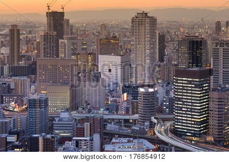 Business office building cityscape downtown background Osaka Japan