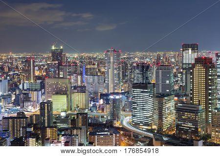 Night lights Osaka office business downtown Japan