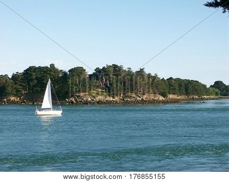 Island of haouat in the morbihan in brittany in france