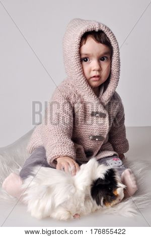 A little girl in a knitted jacket with a hood with a guinea pig sits