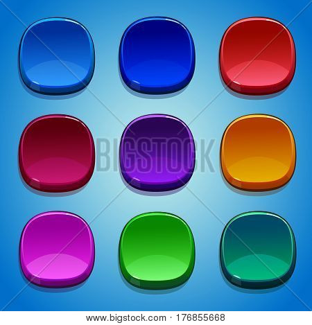 Colored buttons set. GUI and UI elements.