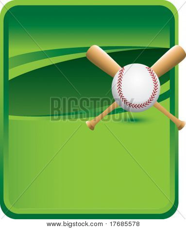 baseball and crossed bats on green background