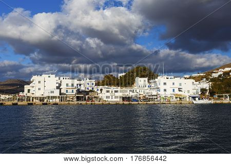 CHORA, GREECE- JANUARY 13, 2017: Harbor of Ios island in Greece on January 13, 2017.