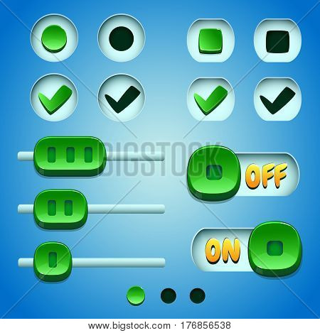 Green buttons set. GUI and UI elements.