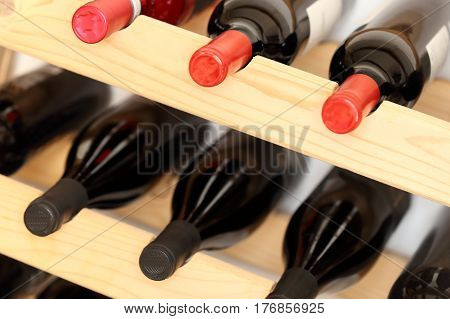 different wine bottles in a storage rack