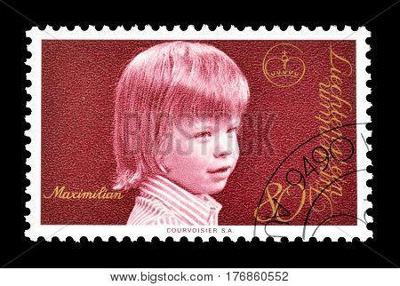 LIECHTENSTEIN - CIRCA 1975 : Cancelled postage stamp printed by Liechtenstein, that shows Prince Maximilian.