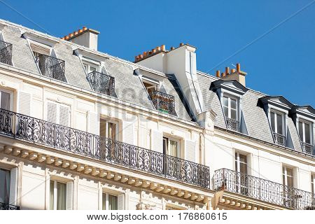 Paris, France - September 24, 2013: Beautiful View On Wonderful Top Of Building On Sky Background