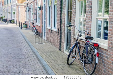 Amsterdam, Netherlands - September 22, 2014: Beautiful View On Street With Bicycles
