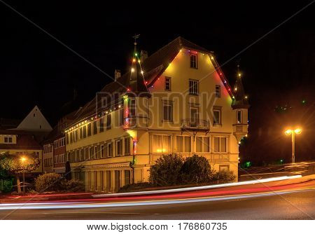 Old town house with lighting at night, taken in Sulz am Neckar, Germany