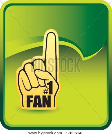number one fan foam hand on green background