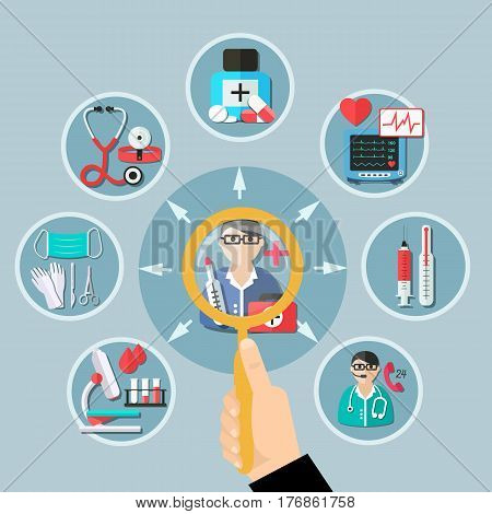 Flat design with medicine icons around doctor and magnifier in client hand on grey background vector illustration