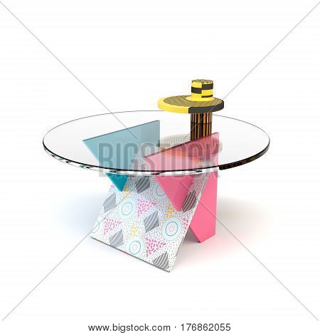 Cute bright colorful table in the style of Memphis with shadow on white background. Memphis table with glass tabletop. 3D illustration