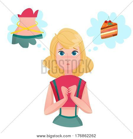 Young lady cartoon character dieting to loose weight dreaming of cake and slim figure temptation emotions vector illustrations