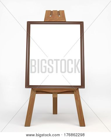 Vintage wooden easel painter standing on the floor. Easel with empty brown and white blank canvas. Membership of the artist. 3d illustration