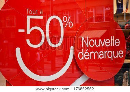 Strasbourg France - july 22 2016 : sales in a shop