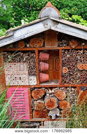 Strasbourg France - july 24 2016 : insect hotel in the university botanical garden