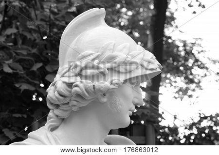 Statue in Summer Garden in Saint Petersburg Russia. Black and white.