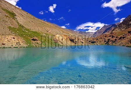 Clearwater Lake in the High-Altitude Mountain Desert of the Himalayas, Ladakh District, Northern India