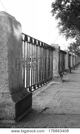 Fence of the Summer Garden in Saint-Petersburg Russia. Black and white.