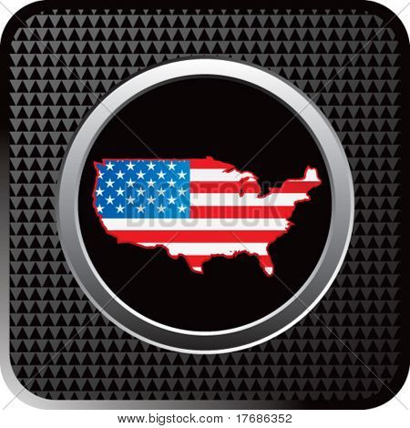 united states red white and blue flag icon on black web button