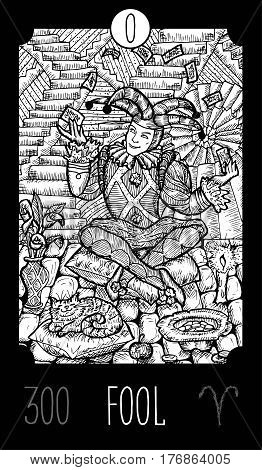 Fool. 0 Major Arcana Tarot Card. Fantasy engraved line art illustration. Engraved vector drawing. See all collection in my portfolio set