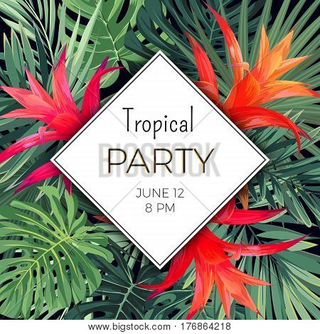 Customizable vector floral design template for summer beach party. Tropical flyer with green exotic plants and red flowers, vector illustration.