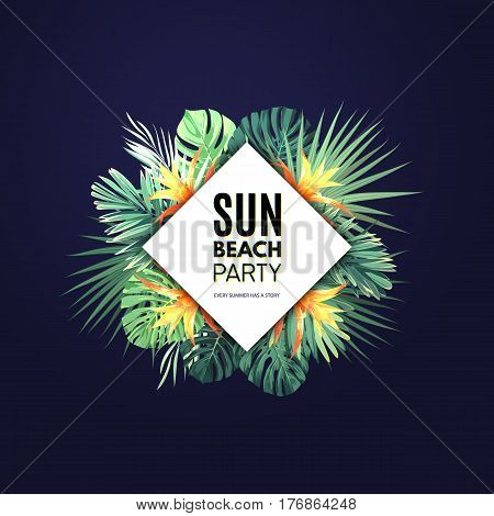Dark floral banner template for summer beach party. Tropical flyer with green exotic plants and red flowers, vector illustration.