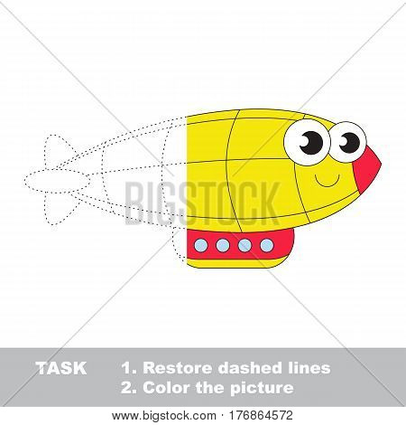 Toy zeppeline in vector to be traced. Restore dashed line and color the picture. Easy educational kid gaming with simple level of difficulty.