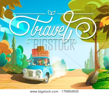 The family goes on holiday car family with pets vector cartoon illustration