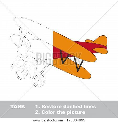 Biplane in vector to be traced. Restore dashed line and color the picture. The tracing game for preschool children with easy game level.