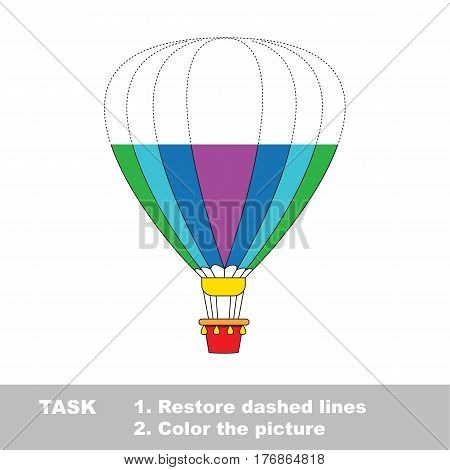 Big ballon in vector to be traced. Restore dashed line and color the picture. The tracing game for preschool children with easy game level.