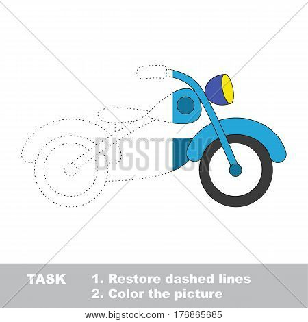 Blue motorcycle in vector to be traced. Restore dashed line and color the picture. The tracing game for preschool children with easy game level.