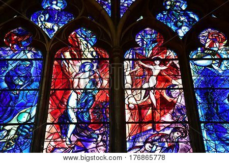 Metz France - july 25 2016 : stained glass window of the Saint Etienne cathedra drawn by Marc Chagalll