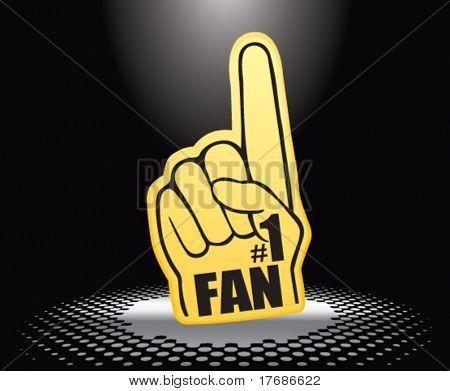 number one fan foam hand under spotlight