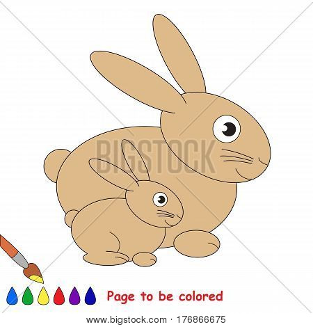 Rabbit and baby to be colored, the coloring book to educate preschool kids with easy kid educational gaming and primary education of simple game level.