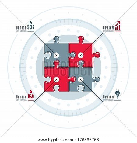 Creative Business Infographics Concept, Puzzle Elements Idea, Layout Of Jigsaw Puzzles For Visual Pr