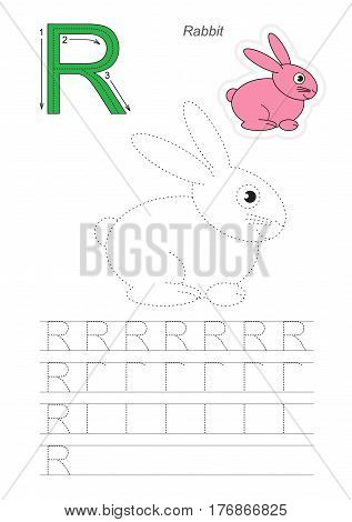Vector illustrated worksheet to preschool children learn handwriting. Page to be traced for gaming and education with easy educational kid game level. Complete eng alphabet. Tracing worksheet for letter R. Rubbit.