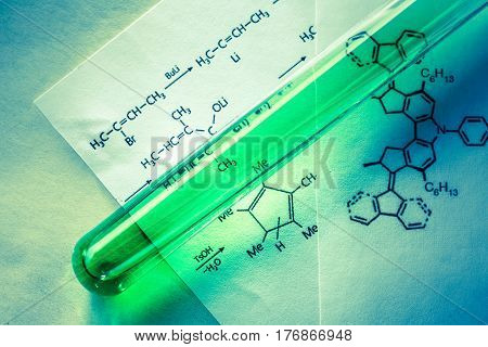 Chemical Tube With Reaction Formula
