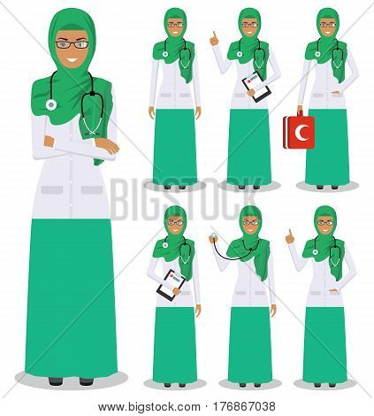 Detailed illustration of muslim arabic medical people standing in different positions in flat style on white background.