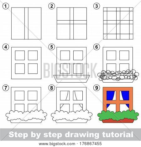 Vector kid educational game to develop drawing skill with easy game level for preschool kids education, the funny drawing kid school. Drawing tutorial for Window.