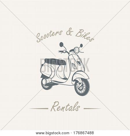 Sale and rental of motorcycles. Old retro vintage grunge -vector illustration